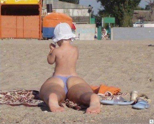 Optický klam na pláži