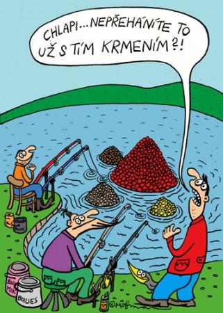 Krmení ryb, kreslený obrázek č. 1026
