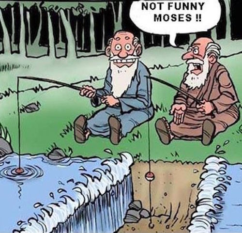 Mojžíš na rybách - kreslený vtip č. 1341