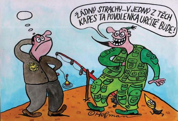 Chycený rybář při pytlačení, kreslený vtip č. 1029