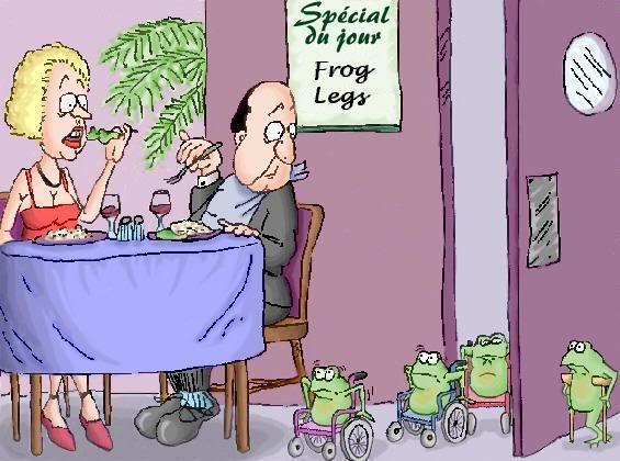 Žabí stehýnka ve Francouzské restauraci; kreslený vtip č.1334