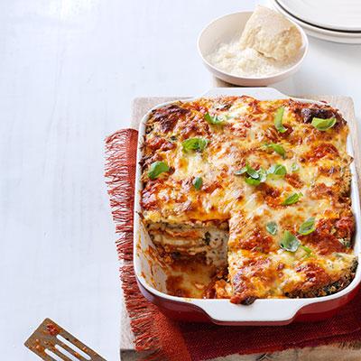 Lasagne z lilku s mozzarellou